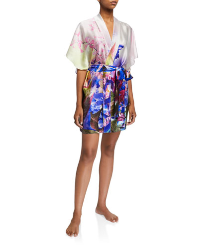 South Pacific Short Silk Robe