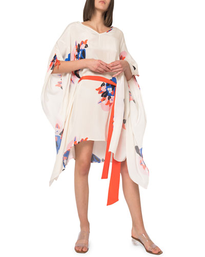 Paloma Floral Cinched-Sleeve Caftan w/ Belt