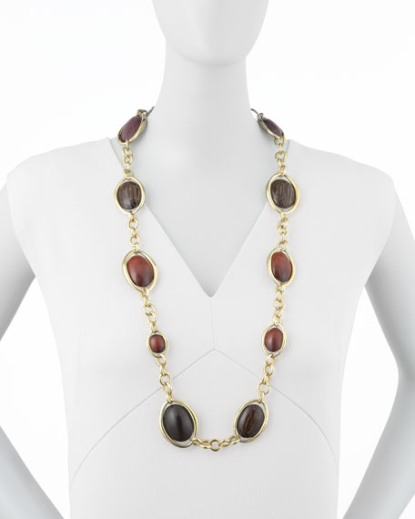 """Wood Oval Links Necklace, 36""""L"""