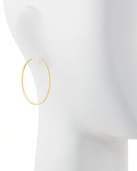 Mirador Medium 18k Yellow Gold Sparkly Hoop Earrings