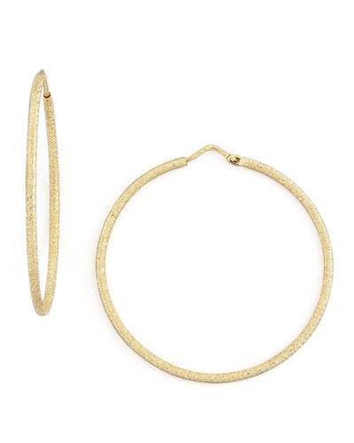 Mirador Medium 18k Yellow Gold Sparkly Hoop Earrings