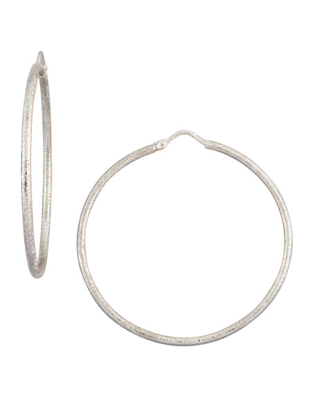Mirador Medium 18k White Gold Sparkly Hoop Earrings