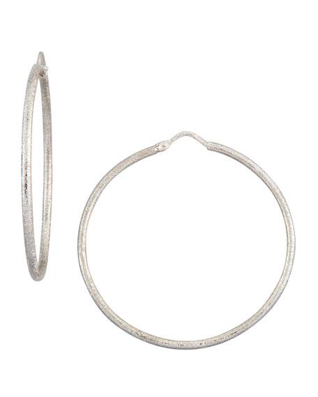 Mirador Medium 18k White Gold Sparkly Hoop Earrings