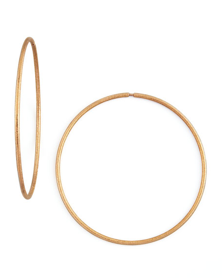 Mirador Large 18k Pink Gold Sparkly Hoop Earrings