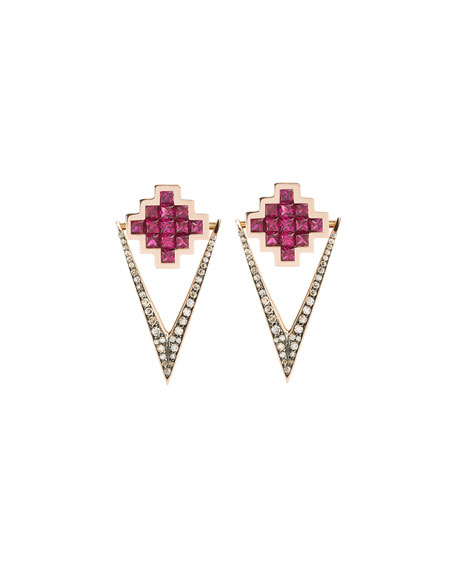 Ruby & Brown Diamond V Drop Earrings