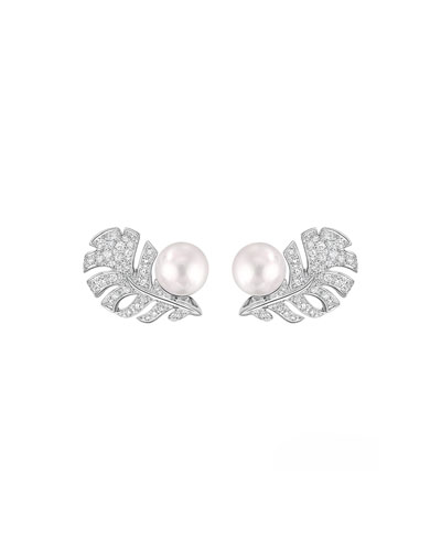 PLUME Earrings in 18K White Gold, Cultured Pearls and Diamonds