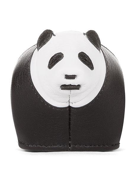 Leather Panda Key Chain, Black/White