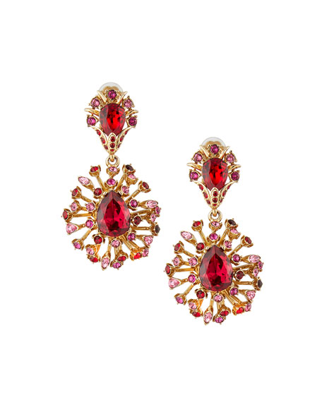 Tiered Crystal Clip-On Drop Earrings, Hot Pink