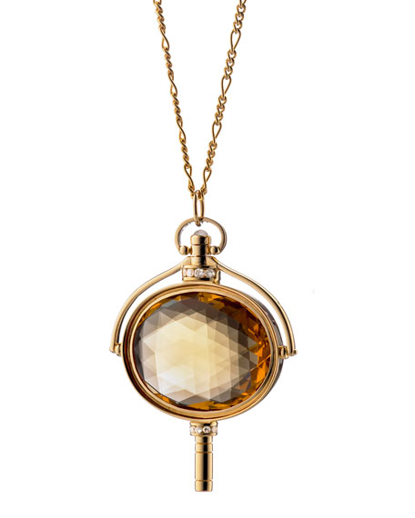 Honey Quartz Oval Key Necklace