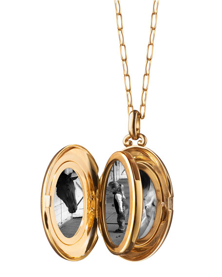 18K Yellow Gold Four-Picture Locket Necklace with Diamond Border