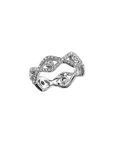 Diamond Evil Eye Eternity Ring in 14K White Gold  Size 6