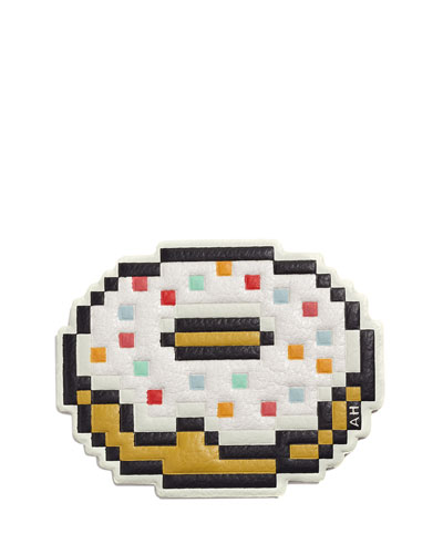 Pixel Doughnut Sticker for Handbag  White