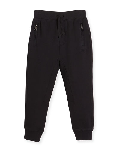 Phill Cotton Track Pants, Black, Size 4-14