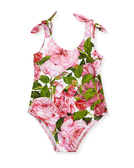 Dolce & Gabbana Floral One-Piece Swimsuit, Pink, Size