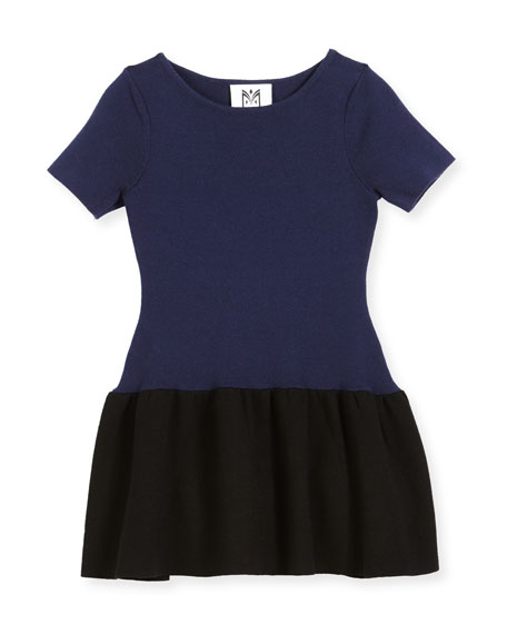Milly Minis Short-Sleeve Ponte Fit-and-Flare Two-Tone Dress, Size