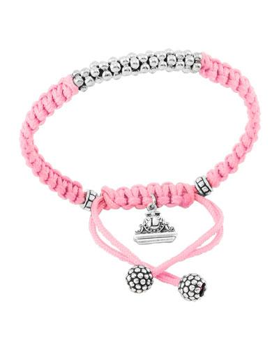 Kinder Sterling-Silver Macrame Bracelet  Pink