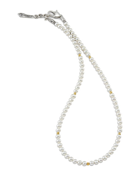 Kinder Pearl Necklace with 18k Gold Cavier Beaded Accents