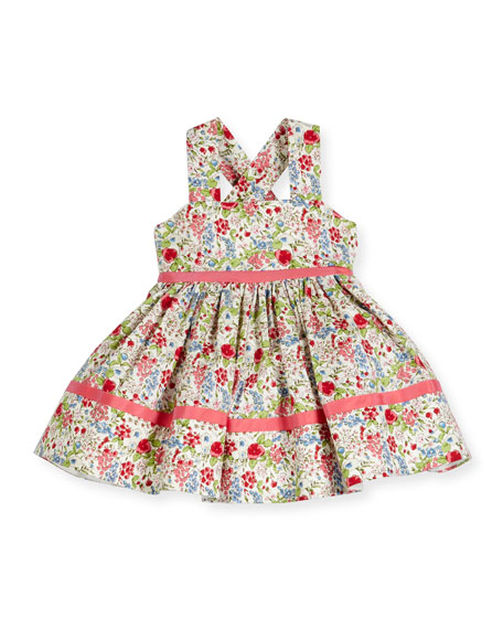 Sleeveless Smocked Floral Cross-Back Dress, Coral/Multicolor,