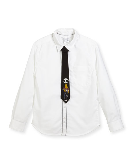 Long-Sleeve Oxford Shirt w/ Mister Marc Tie, Size 6-10
