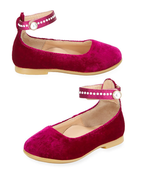 Aquazzura Alix Velvet Ballet Flat w/ Pearly Trim,