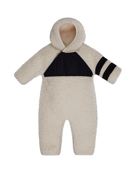 Moncler Pagliacetto Fuzzy Fleece Hooded Coverall, Size 6-24