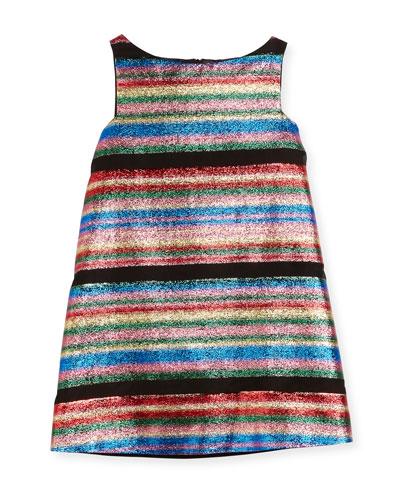 Multi-Stripe Illusion Lurex® Shift Dress, Size 4-7