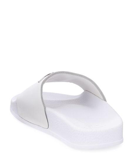 Birel Leather Slide Sandal, White, Youth