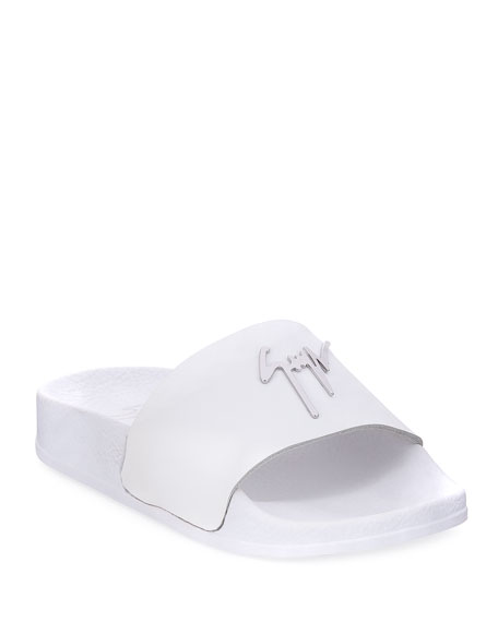 Giuseppe Zanotti Birel Leather Slide Sandal, White, Youth