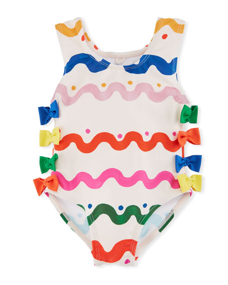 Lisa Squiggly-Print One-Piece Swimsuit w/ Bows, Size 12-36 Months