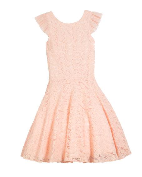 Ruffle-Sleeve Lace Dress, Size 8-16