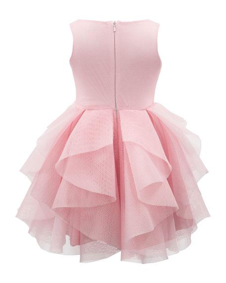 Sleeveless Big Ruffle Mesh Dress, Size 4-10