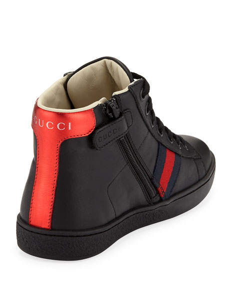 New Ace Leather High-Top Sneakers, Kids