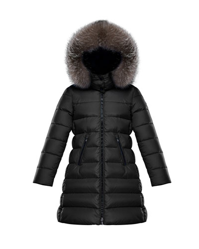 Abelle Quilted Puffer Coat w/ Fur Trim  Size 4-6