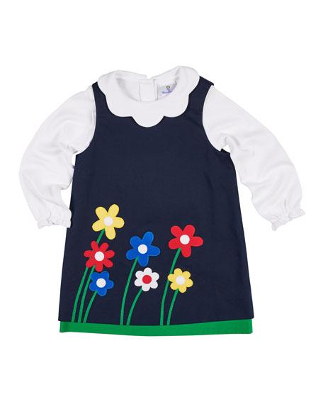 Twill Flower Appliqué Dress w/ Scallop-Collar Top, Size 2-6X