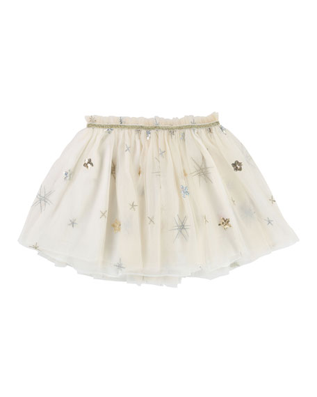Billieblush Glitter & Sequin Star Tulle Skirt, Size