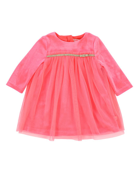 Billieblush Long-Sleeve Velour & Tulle Dress, Size 12-18