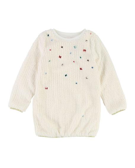 Billieblush Long-Sleeve Fuzzy Knit Dress w/ Gem Trim,