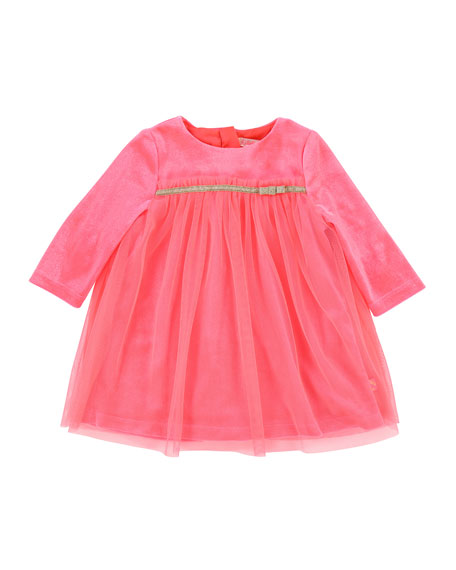 Billieblush Long-Sleeve Velour & Tulle Dress, Size 2-3