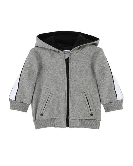 Zip-Up Hooded Jacket w/ Logo Sleeves, Size 2-3