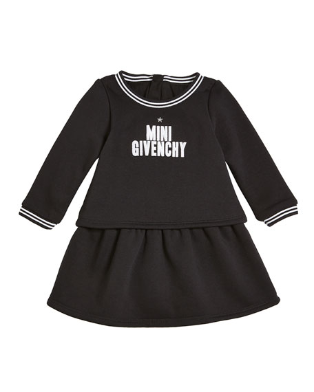 Long-Sleeve Mini Givenchy Logo Dress, Size 12-18 Months