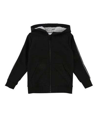 Zip-Up Hooded Jacket w/ Logo Sleeves, Size 12-14