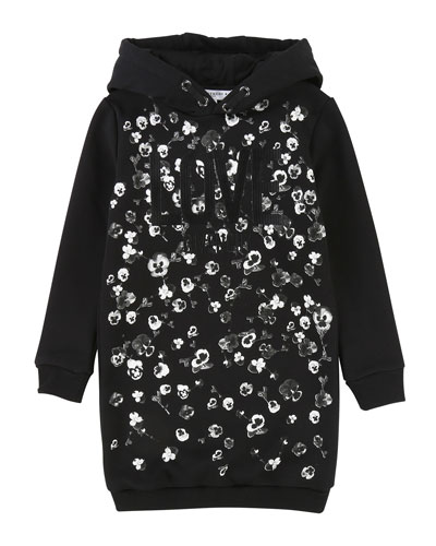 Love Givenchy Metallic Floral Hoodie Dress, Size 6-10