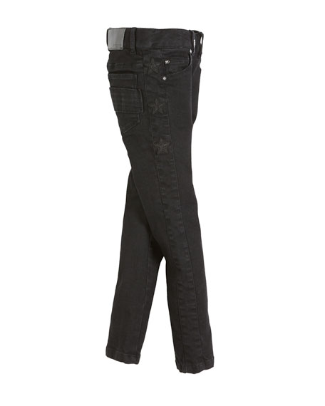 Slim-Fit Leather-Trim Denim Pants, Size 12-14