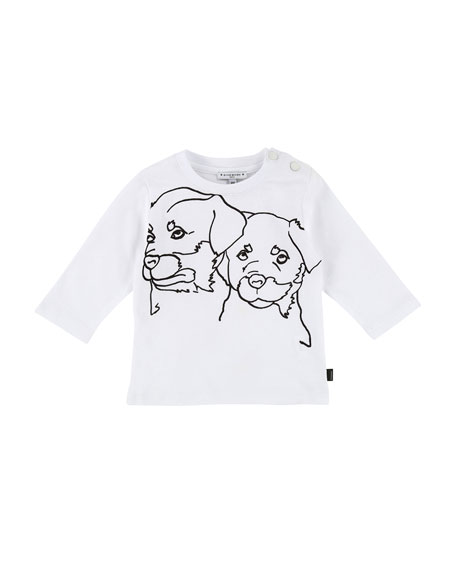 Givenchy Long-Sleeve Rottweiler Drawing Tee, Size 12-18 Months
