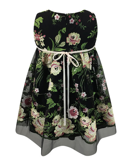 Sleeveless Floral-Embroidered Dress, Size 7-14