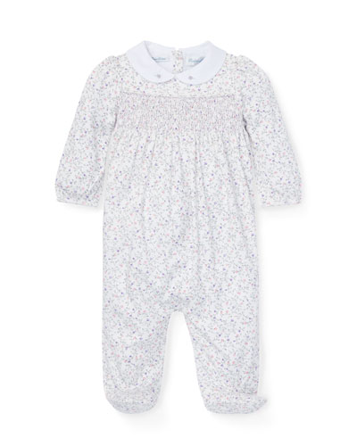 Floral Smocked Footed Playsuit, Size 3-9 Months