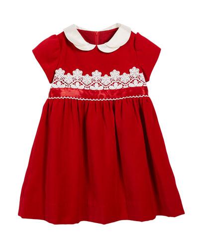 Velvet Lace-Trim Dress, Size 3-24 Months