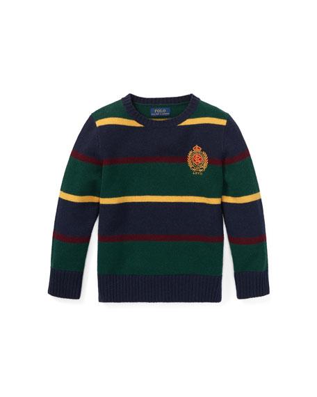 Merino Wool Multi-Stripe Crest Sweater, Size 2-4