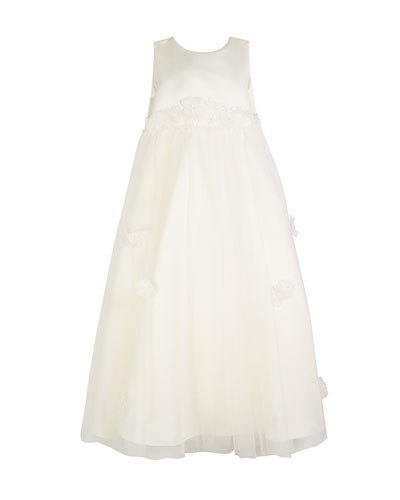 Satin & Tulle Long Gown w/ 3D Floral Cutouts  Size 4-8