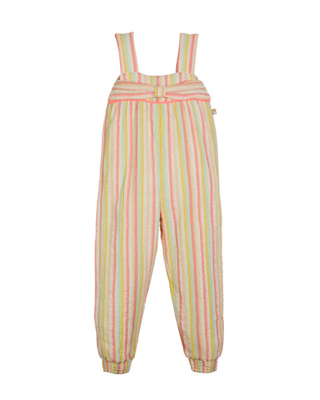 Striped Sleeveless Jumpsuit w/ Bow Detail, Size 4-12